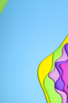 3d-rendering, abstracte kleurrijke papier knippen kunst achtergrondontwerp voor poster sjabloon, kleurrijke achtergrond