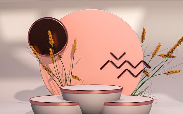 3d-rendering abstracte lente speciale podiumvertoning