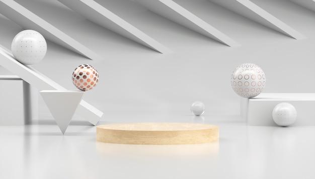 3d rendering abstracte minimale witte vitrine
