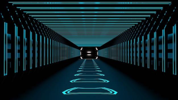 3d-rendering abstracte ruimte sci-fi toekomstige gang gang