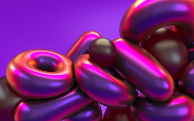 3d-rendering abstractie in roze paars neonlicht met glanzende reflectie. holografische iriserende effect achtergrond.