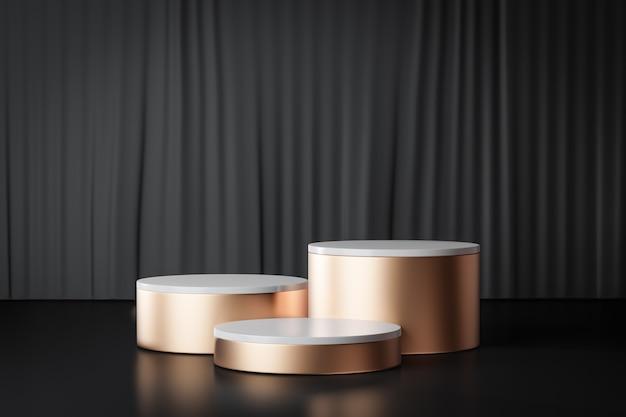 3d-rendering achtergrond. drie gouden cilinder podium podium op zwarte gordijn achtergrond. afbeelding voor presentatie.