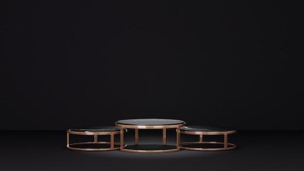 3d-rendering achtergrond. drie zwarte marmeren gouden cilinder tafel op zwarte achtergrond. afbeelding voor presentatie.
