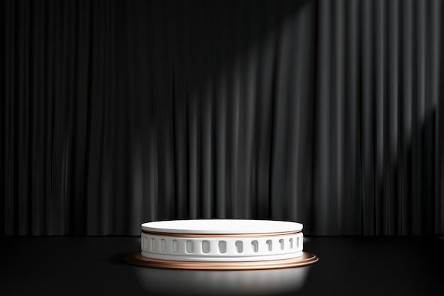 3d-rendering achtergrond. romeinse stijl gouden cilinder podium podium op zwart gordijn en verlichting achtergrond. afbeelding voor presentatie.