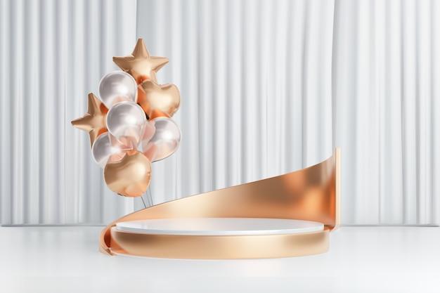 3d-rendering achtergrond. witgouden cilinder podium podium met gouden ballon hart ster op witte gordijn achtergrond. afbeelding voor presentatie.