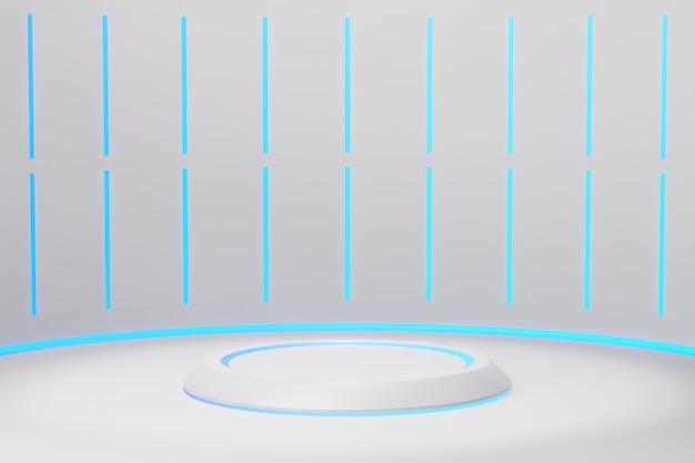 3d-rendering achtergrond. witte toekomstige achtergrond en leeg podium met blauw licht, toekomstig modern interieurconcept. showcase voor producten achtergrond