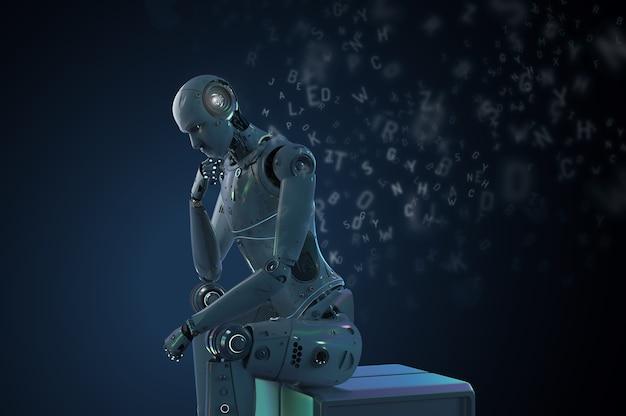 3d-rendering ai robot leren of machine learning met alfabetten
