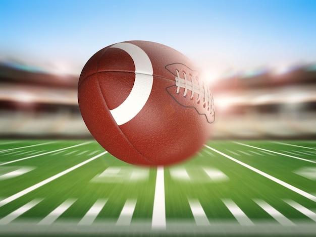 3d-rendering amerikaanse voetbalbal met bewegingsachtergrond