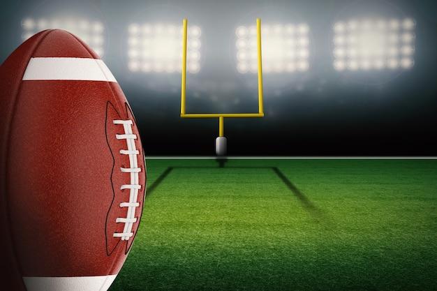 3d-rendering amerikaanse voetbalbal met velddoelpaal