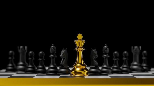 3d-rendering anders voor competitie gouden koning met strategische intelligentie voor uw ontwikkelingsbedrijf. voordeelleiderschap om zaken uit te dagen en te bestrijden.
