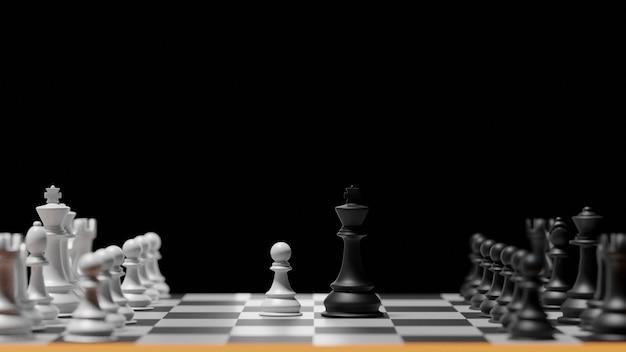 3d-rendering anders voor competitie gouden koning versus slavenschaak. voordeelleiderschap om zaken uit te dagen en te bestrijden.