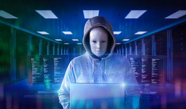 3d-rendering anonieme / leeg gezicht hacker in serverruimte
