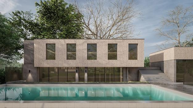 3d-rendering architecturaal huis zwembad ontwerp