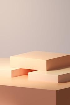 3d-rendering awards podium in harmonie met oranje kleur.