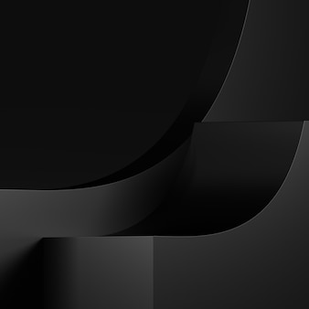 3d-rendering awards podium in harmonie met zwarte kleur.