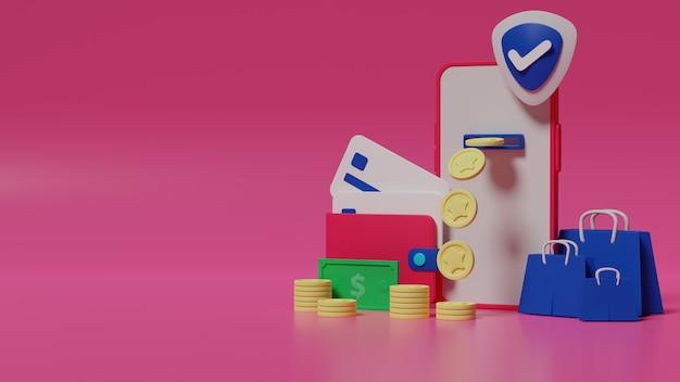 3d-rendering betaalmethode voor online winkelen