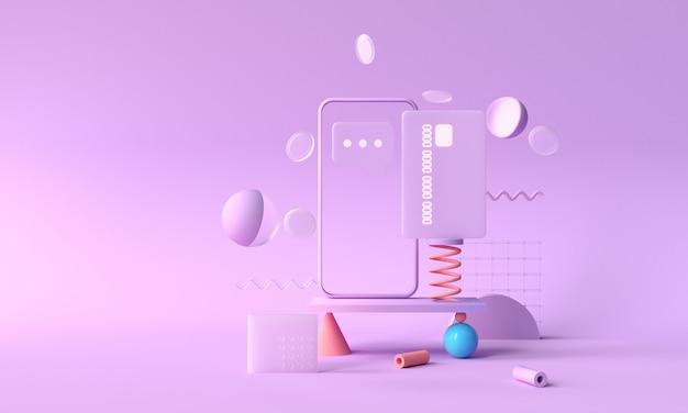3d-rendering betaling via creditcard concept. veilige online betalingstransactie met telefoon. internetbankieren via creditcard op mobiel. geometrisch object zwevende achtergrond