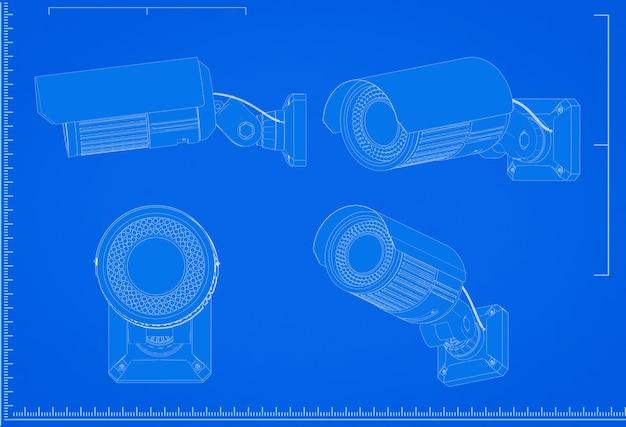 3d-rendering beveiligingscamera blauwdruk met schaal op blauwe achtergrond