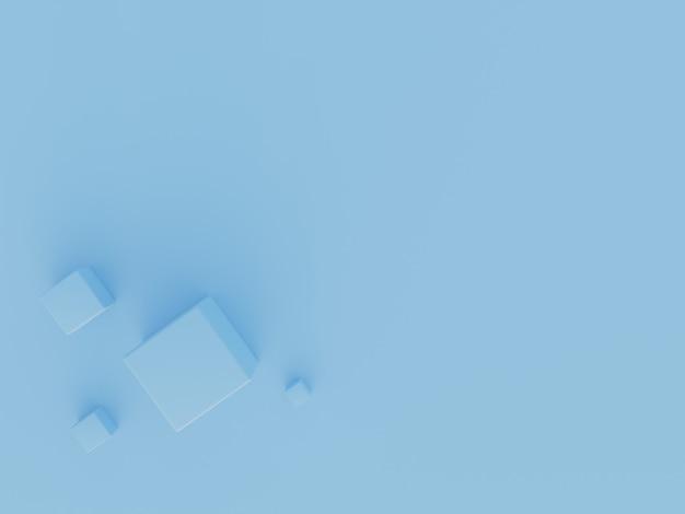 3d-rendering blauw kubusbehang