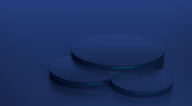 3d-rendering blauw voetstuk podium voor luxe producten.