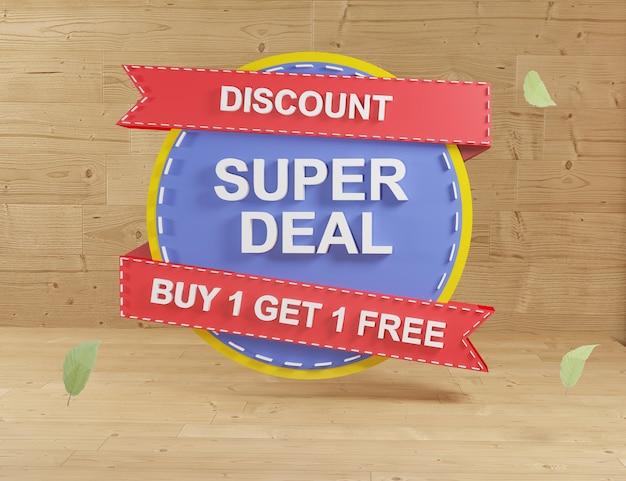 3d-rendering blauwe sticker verkoop op houten achtergrond super verkoop en prijs badges etiketten kortingen