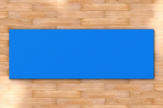 3d rendering blauwe yoga mat bovenaanzicht
