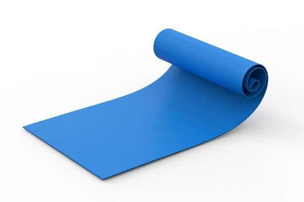3d-rendering blauwe yoga mat oprollen op witte achtergrond