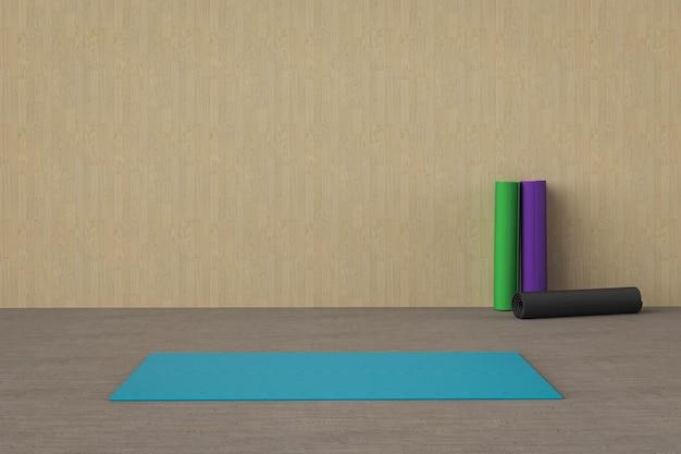 3d-rendering blauwe yogamat op de vloer