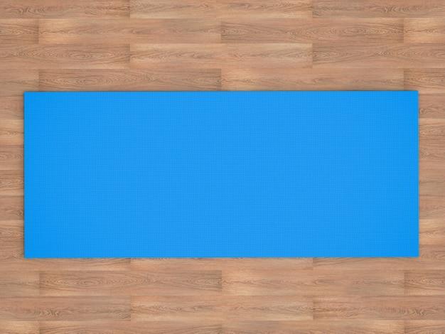 3d-rendering blauwe yogamat op houten vloer