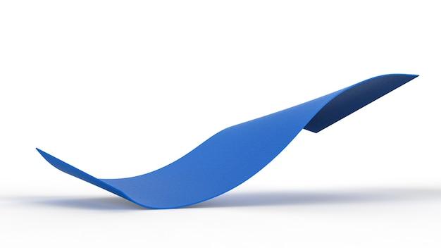 3d-rendering blauwe yogamat op witte achtergrond