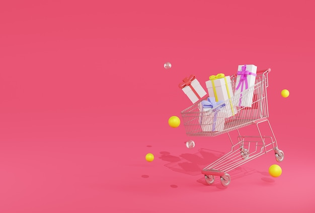 3d-rendering boom geschenkdozen in winkelwagen op roze