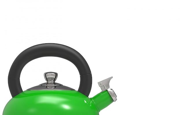 3d-rendering. bovenste deel van groene metalen ketel theepot met uitknippad geïsoleerd