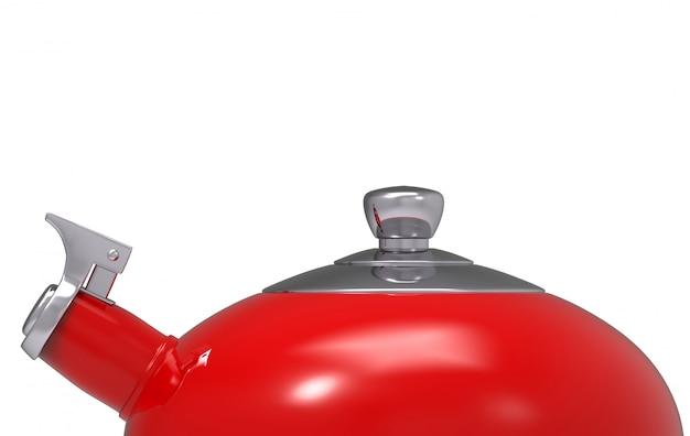 3d-rendering. bovenste gedeelte van rode metalen ketel theepot met uitknippad geïsoleerd