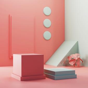 3d-rendering box podium productvertoning met geometrische achtergrond en monstera blad