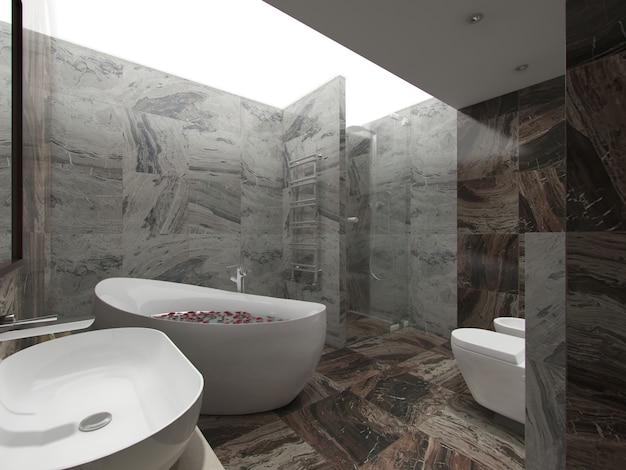 3d-rendering bruine badkamer
