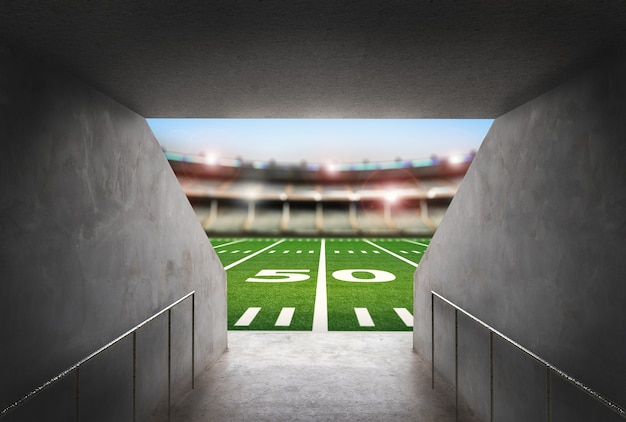3d-rendering cementtunnel in amerikaans voetbalstadion