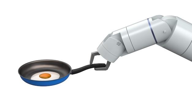 3d-rendering chef-kok robot greep koekenpan geïsoleerd op wit
