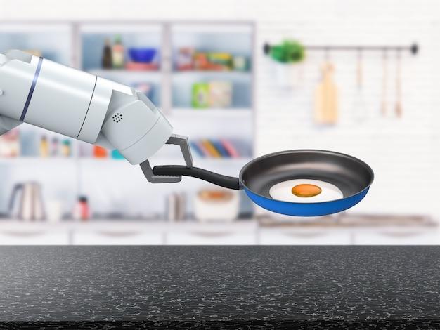 3d-rendering chef-kok robot houdt koekenpan in keuken