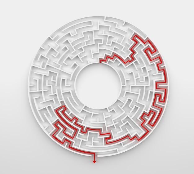 3d-rendering circulaire doolhof met oplossing.