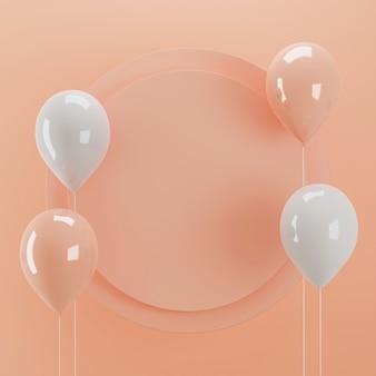 3d-rendering cirkel bord voor productweergave met ballon accent