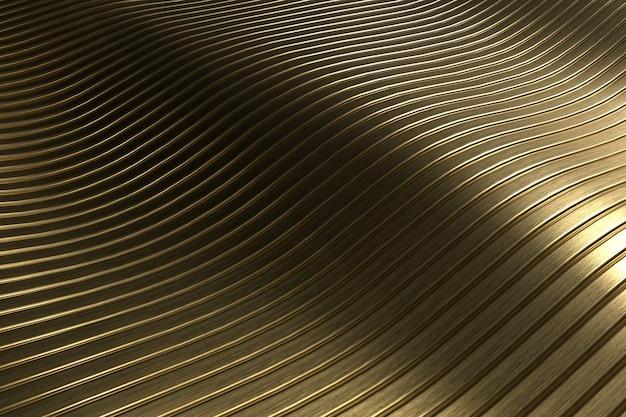 3d-rendering close-up abstracte goud snijden golvende achtergrond. Premium Foto