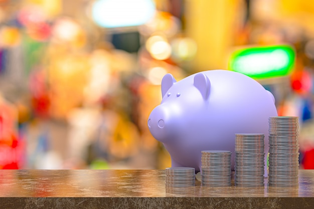3d-rendering, coin met een spaarvarken, besparing opgroeien voor zakelijke en financiële concept idee