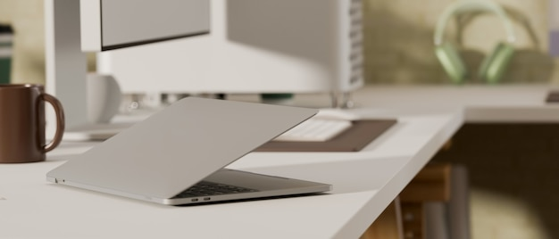 3d rendering comfortabele werkruimte met laptop en mok op computerbureau in kantoor aan huis kamer 3d illustratie