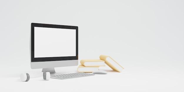 3d-rendering computer met muis en toetsenbord en boek e-learning online onderwijs concept - zwart-wit toon kopie ruimte achtergrond
