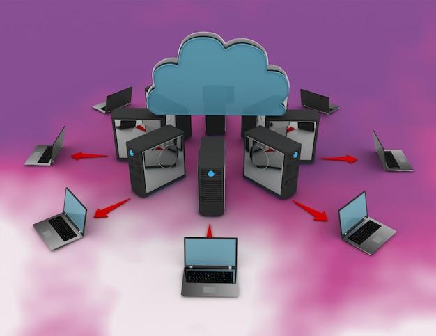 3d-rendering computernetwerk. 3d-gerenderde afbeelding