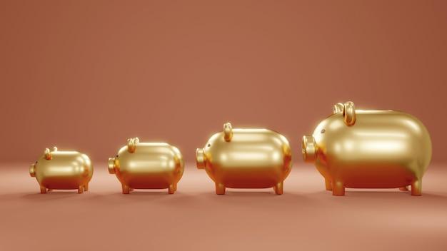 3d rendering concept van gouden spaarvarkens in verschillende maten concept van financial