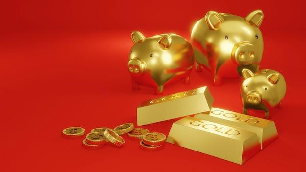 3d-rendering concept van gouden spaarvarkens op rode achtergrond met munten en goudstaven