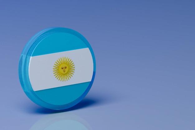 3d-rendering copa amerika. argentijnse vlag