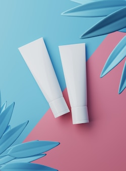 3d-rendering cosmetic beauty witte lege plastic containers productpakket op pastel kleuren achtergrond