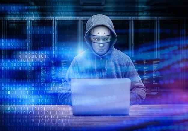 3d-rendering cyborg hacker met computer notebook in serverruimte